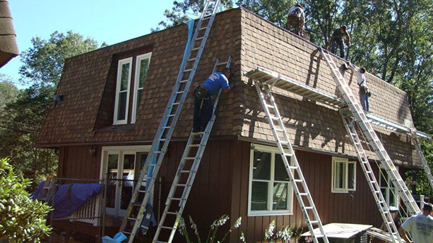 DePietro Roofing workers on the job